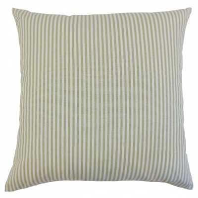 """Ira Stripes Pillow Sage- 20"""" x 20""""- Down Insert - Linen & Seam"""