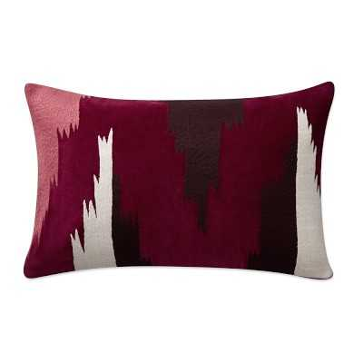 "Ventana Ikat Velvet Lumbar Pillow Cover, 14"" X 22"", Red - Williams Sonoma"