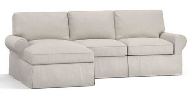 PB BASIC RIGHT ARM SOFA WITH CHAISE SECTIONAL SLIPCOVER, TWILL PARCHMENT - Pottery Barn