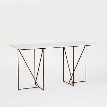 Marble + Brass Geo Desk, White Marble/Antique Brass - West Elm