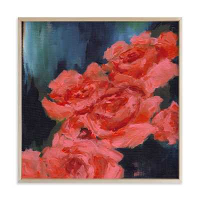 """Coral Roses Wall Art -  24"""" x 24"""" - Matte Brass Frame - Minted"""