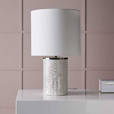 Etched Glass Table Lamp, Mercury Glass, White - West Elm