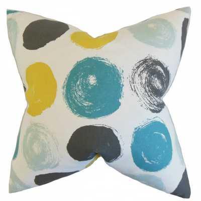 Xenophon Geometric Pillow Blue Dot - 20 x 20- down Insert - Linen & Seam