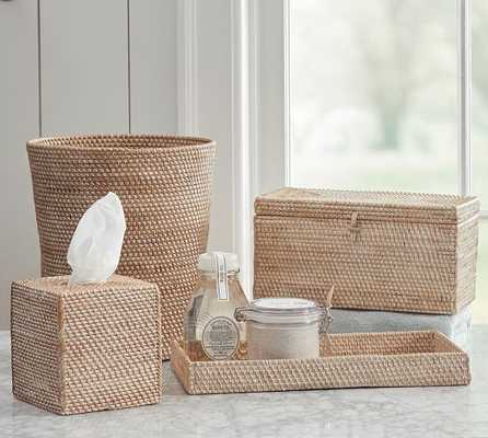 Tava Bath Accessories - Whitewash - Tray, Tissue Box Cover, Lidded Box, Wastebasket - Pottery Barn