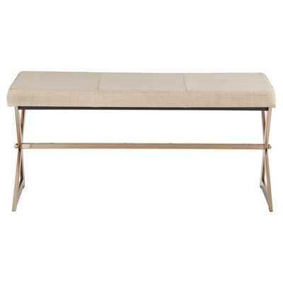 Ornelas Champagne Gold Metal Base Bench - Oatmeal - Target