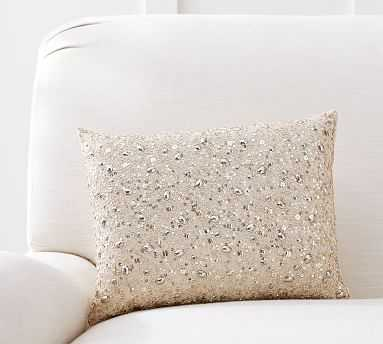 "Monique Lhuillier Beaded Lumbar Pillow, 12 x 16"", Rose Gold - Pottery Barn"