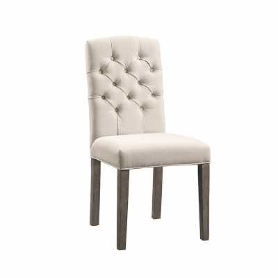 COLIN LINEN TUFTED DINING CHAIR CREAM - Abbyson Living