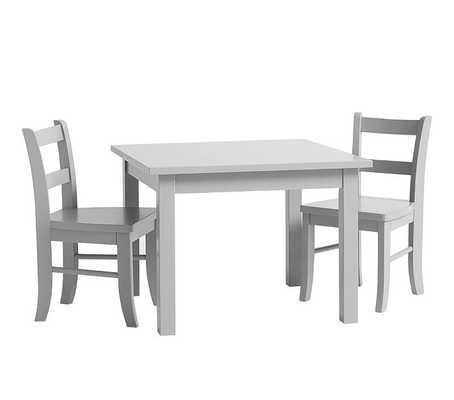 Table & Set of 2 Chairs, Smoked Charcoal - Pottery Barn Kids