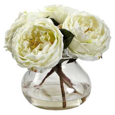 Nearly Natural Fancy Rose with Vase - Target