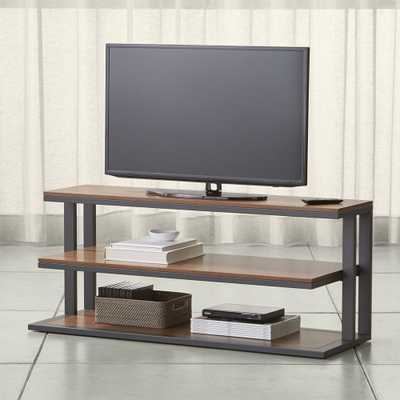 "Pilsen 52"" Graphite Media Console with Walnut Shelves - Crate and Barrel"