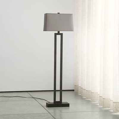 Duncan Antiqued Bronze Floor Lamp with Grey Shade - Crate and Barrel
