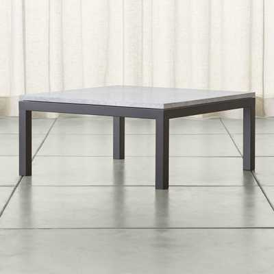 Parsons White Marble Top/ Dark Steel Base 36x36 Square Coffee Table - Crate and Barrel