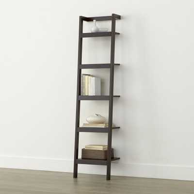 "Sawyer Mocha Leaning 18"" Bookcase - Crate and Barrel"