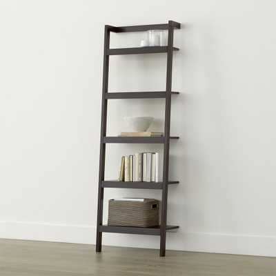 "Sawyer Mocha Leaning 24.5"" Bookcase - Crate and Barrel"