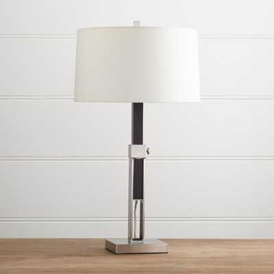Denley Nickel Table Lamp with Black Wood - Crate and Barrel