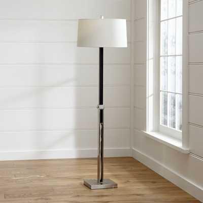 Denley Nickel Floor Lamp with Black Wood - Crate and Barrel