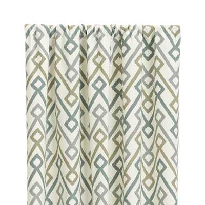 "Maddox 50""x84"" Khaki/Grey Curtain Panel - Crate and Barrel"