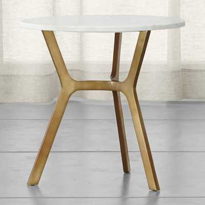 Elke Round Marble End Table with Brass Base - Crate and Barrel