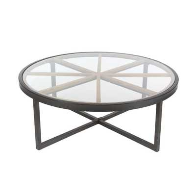Modern 47 in. Iron and Glass Coffee Table - Home Depot