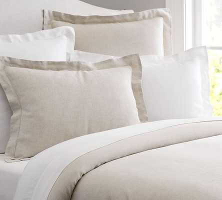 Belgian Flax Linen Duvet Cover, Queen Natural - Pottery Barn
