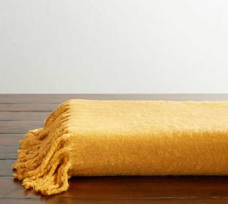 SOLID FAUX MOHAIR OVERSIZED THROW-monogram - Pottery Barn