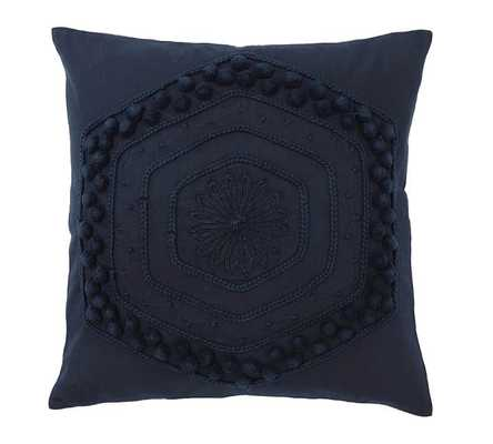 """Pom Pom Embroidered Pillow Cover, 20"""", Navy - Pottery Barn"""