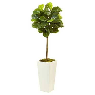 Fiddle Leaf Fig in White Planter (4.5ft) - Nearly Natural - Target