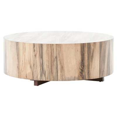 Barthes Rustic Lodge Round Natural Wood Block Coffee Table - Kathy Kuo Home