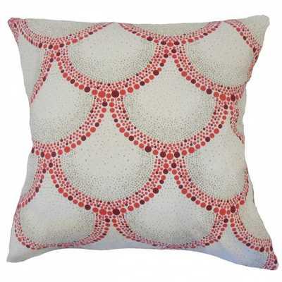 "Feryal Polka Dot Pillow Berry - 12"" x 18"" - poly insert - Linen & Seam"