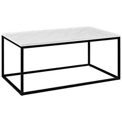 Adeline Faux Marble Top and Metal Coffee Table white - Lamps Plus