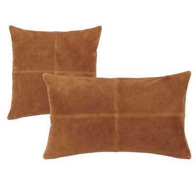 "Sueded Leather Throw Pillow - Camel, 18""x18"" - Ballard Designs"