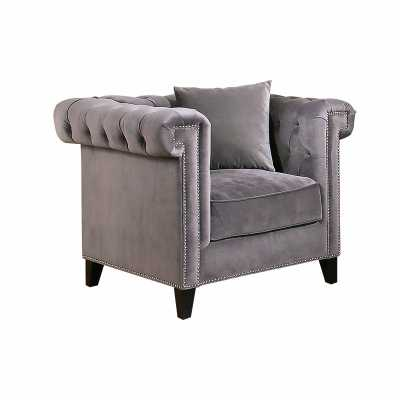 VICTORIA VELVET CHAIR - GREY - Abbyson Living