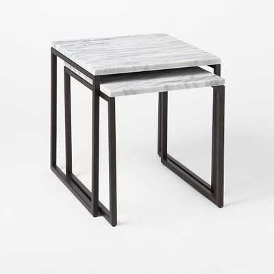 Box Frame Nesting Tables - Marble/Antique Bronze - West Elm