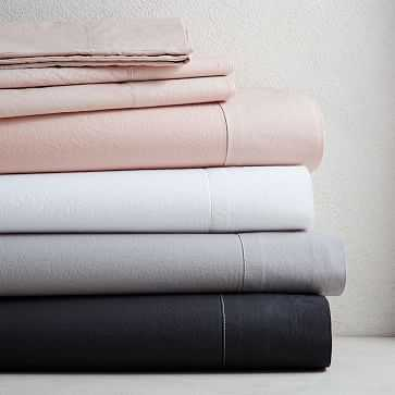 Organic Washed Cotton Sheet Set, Queen, Stone White - West Elm