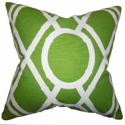 "Whit Geometric Pillow Green - 18"" x 18"" with Down Insert - Linen & Seam"