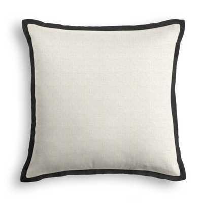 "Throw Pillow - Classic Linen - Heathered Flax - Classic Linen Pure Black Flange - 22"" x 22"" - Down Insert - Loom Decor"