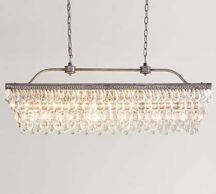 "Clarissa Crystal Drop Rectangular Chandelier, 30""L - Pottery Barn"