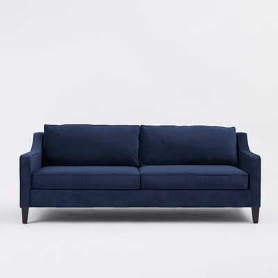 "Paidge Sofa 86.5"" Sofa - Performance Velvet Ink Blue/ Poly Fill/ Taper Chocolate Leg - West Elm"