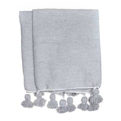 Isidora Tassel Throw, Gray - Lulu and Georgia