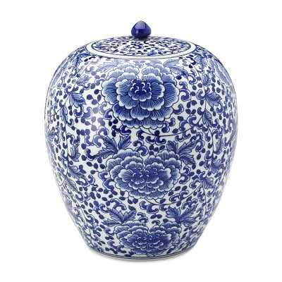 "Ginger Jar, 12"", Lidded, Blue/White, Rose Motif - Williams Sonoma"