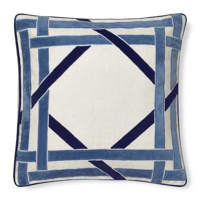 "Cane Velvet Applique Pillow Cover, 20"" X 20"", Blue - Williams Sonoma"