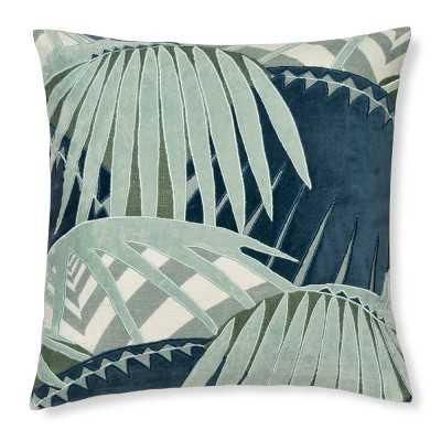 """Rousseau Velvet Applique Pillow Cover, 20"""" X 20"""", Blue - Williams Sonoma"""