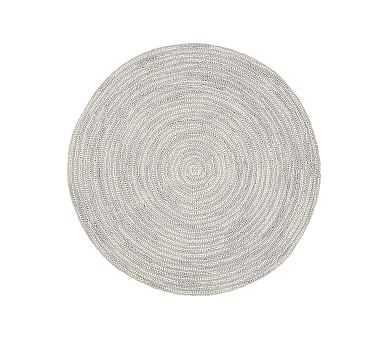 Round Mercer Rug, 5 Feet Round, Light Gray - Pottery Barn Kids