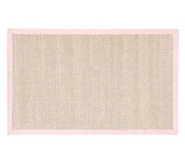 Chenille Jute Thick Solid Border Rug, 5x8 Feet, Light Pink - Pottery Barn Kids