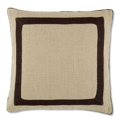 "Linen Border Pillow Cover, 22"" X 22"", Brown - Williams Sonoma"
