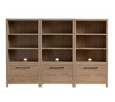 Charlie XW Storage Wall 3 Drawer Bases; 3 Bookcase Cubbies, Smoked Gray - Pottery Barn Kids
