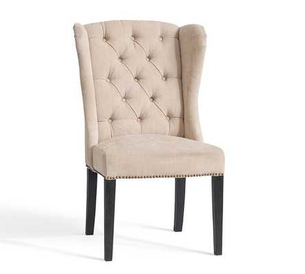 THAYER TUFTED WINGBACK CHAIR, DESERT PERFORMANCE TWEED - Pottery Barn