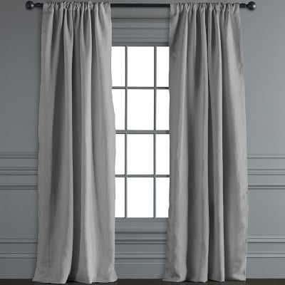 "Belgian Linen Rod Pocket Drape, 96"", Smoke Grey - Williams Sonoma"