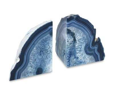Agate Bookends, Set of 2, Blue - Williams Sonoma