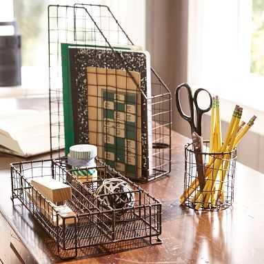 Wire Desk Accessories, Set Of 3, Antique Bronze - Pottery Barn Teen